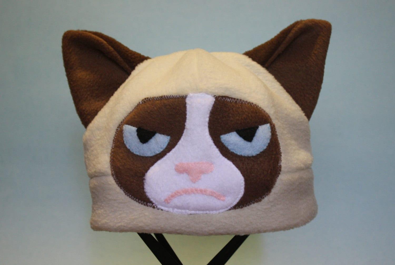 grumpy cat fleece hat etsy. Black Bedroom Furniture Sets. Home Design Ideas