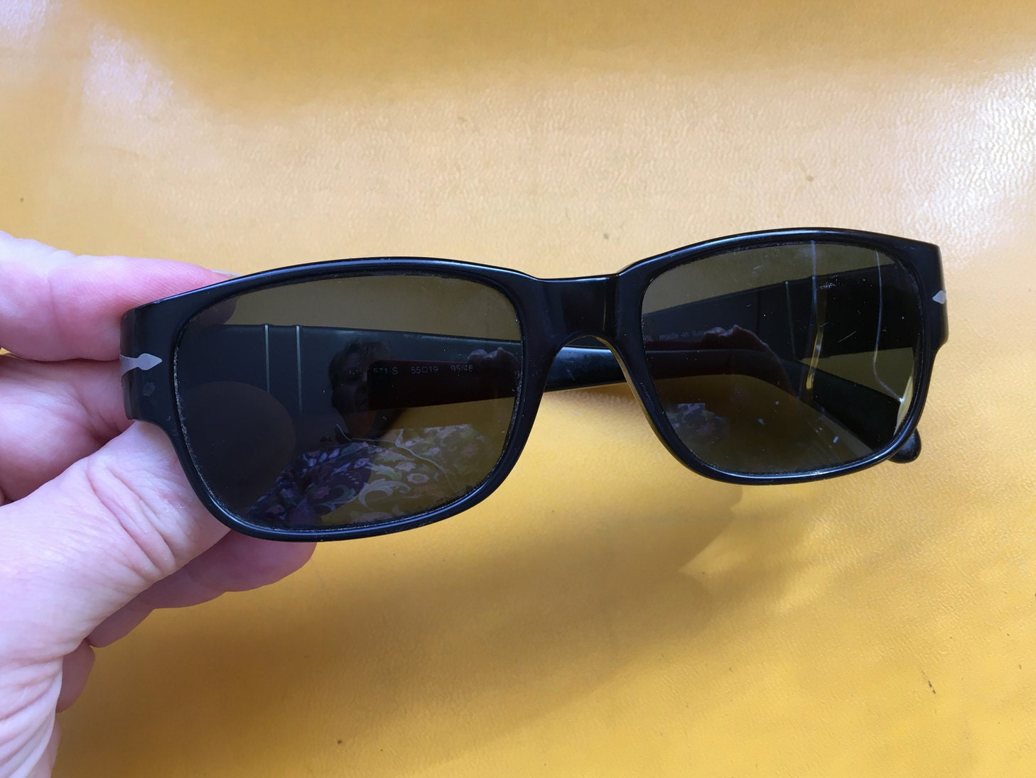 79ec3b3d63 Vintage Persol Sunglasses Retro Fashion Black Rectangle Lens