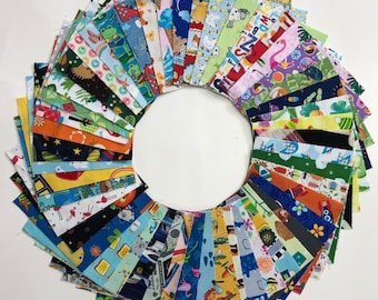 """I Spy Fabric Pack - 100 Pieces - Pre-cut 5"""" squares perfect for baby or kids quilt"""