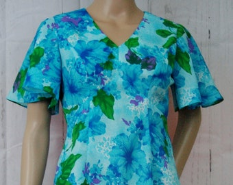 Vintage Blue Green Floral Hawaiian Mid Length Dress 1970s Summer Floral Dress