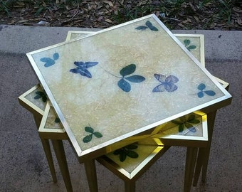 Vintage Boho Hippie  Stacking Tables Set of 3 Butterfly Leaf Pattern Lucite Tops