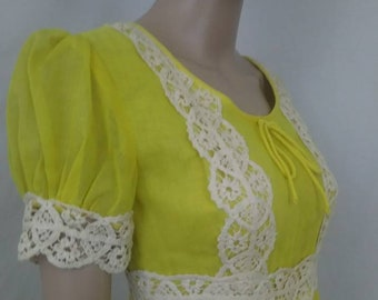 1970's Boho Maxi Dress Sunshine Yellow with Crochet Details by Beverly Paige