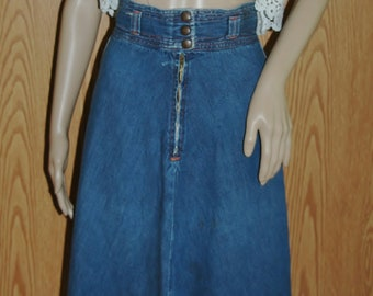 6450b74260a Vintage 1970s Denim High Waist Skirt Boho Denim Skirt