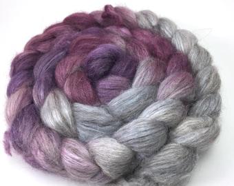 Spinning Fiber - Alpaca/Silk  Roving Combed Top - Silver Chalice