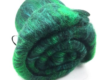 Spinning Fiber - Smooth Batt - Alpaca, Silk, Firestar - Black Emerald - 4 oz