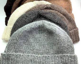 Alpaca hat handknit, watch cap, fisherman hat, toque, natural colors, unisex
