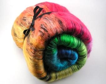 Spinning Fiber - Black Baby Alpaca and Cultivated Silk Smooth Batt - Black Rainbow