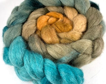 Spinning Fiber - Baby Alpaca Combed Top - Aqua to Rust - gradient dyed roving