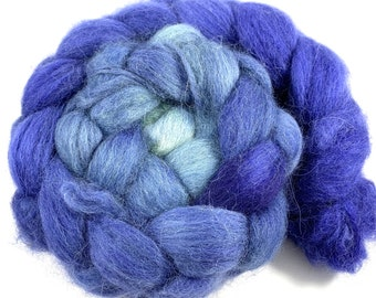 Baby Alpaca Combed Top - spinning fiber - Midnight to Sage gradient - roving 4 oz