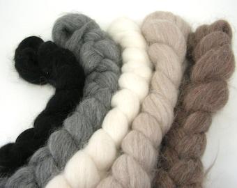 Baby Alpaca Combed Top - spinning fiber - Natural Sampler