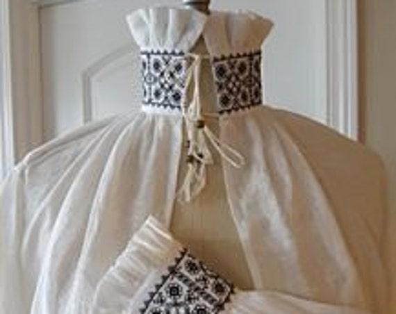 100% ITALIAN HANDKERCHIEF Linen, Women's Renaissance, Elizabethan, Tudor, Costume, Shirt, BLACKWORK (Made to Order)