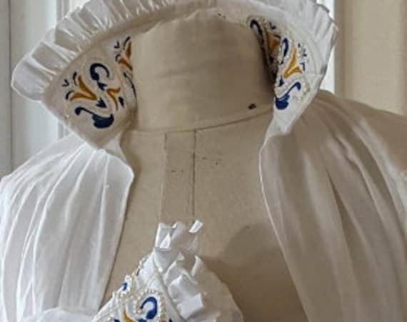 Women's Mid-Calf Length SMOCK with Maria de Medici Custom Embroidery, Renaissance, Elizabethan, Italian Linen - Made To Order