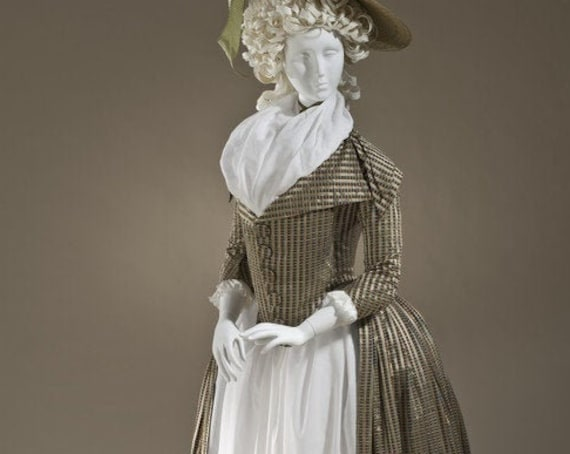 Women's 18th Century French Redingote Dress, Rococo - Custom, Made To Order
