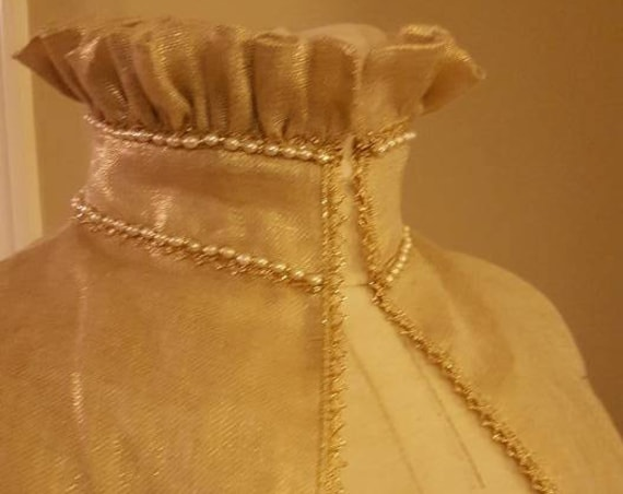 Women's PLUS SIZED Gold Metallic Sheer Handkerchief Linen Under-Partlet, Renaissance, Elizabethan Costume (Custom Made To Order)