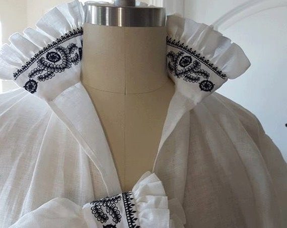 100% ITALIAN HANDKERCHIEF Linen, Women's Renaissance, Elizabethan, Tudor, Costume, Shirt, BLACKWORK (Made to Order)
