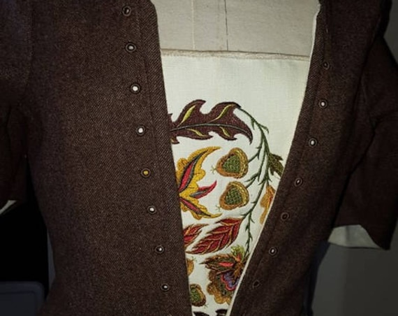 18th Century Claire Fraser, Lady Broch Tuarach Bodice, Embroidered Stomacher ONLY - Custom, Made To Order