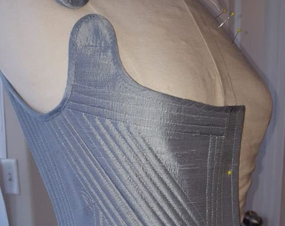 Women's Plus Sized Silk 18th Century Stays, Corset, FULLY BONED - Custom Made in USA = No Risky Overseas Purchase.