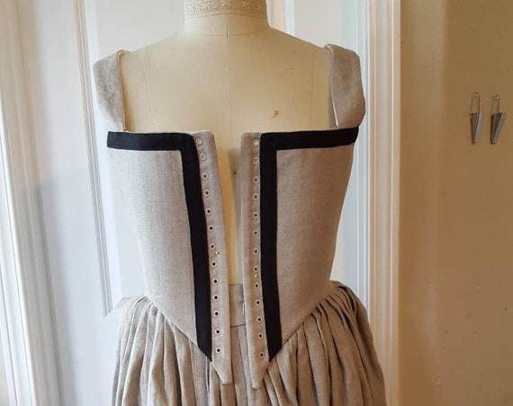 3 Piece Elizabethan Kirtle, Renaissance Dress, Custom Drafted (Made To Order) INCLUDES FABRICS - Linen Only