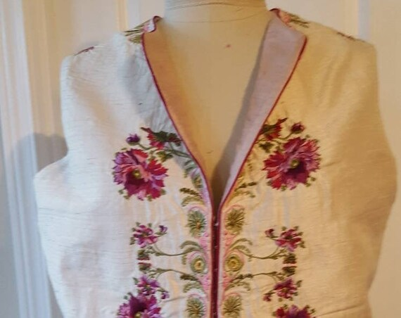 Men's 18th Century Waistcoat, Vest Embroidered Reproduction - Custom Made to Order.