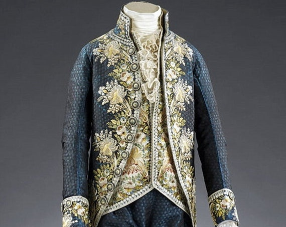 18th Century Men's CUSTOM embroidered French Court Ensemble Outlander, Rococo, Versailles - Made To Order