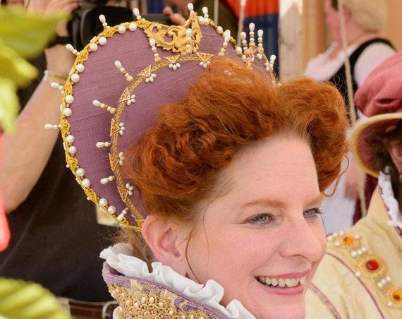 Women's Elizabethan Heart Shaped Attifet, Headdress, Renaissance - Custom Made to Order
