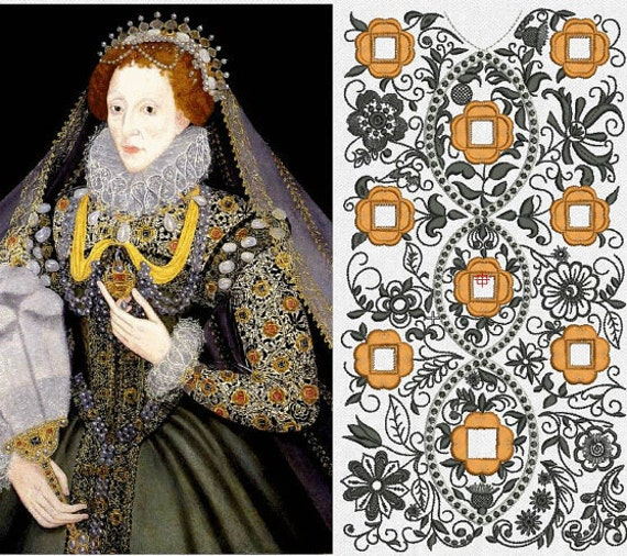 Italian Linen Under-Partlet, Queen Elizabeth-I Reproduction Blackwork, Elizabethan, Renaissance - MADE TO ORDER