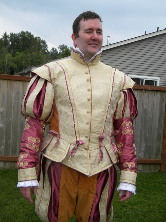 Men's Renaissance, Tudor, Elizabethan, Doublet, Paned Slops, Costume, Wedding, Groom's Attire  -Made To Order (LABOR FEES)