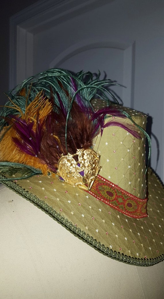 Unisex Renaissance, Elizabethan, Slanted Riding Hat, with Feather Cluster & Metallic component (MADE TO ORDER)
