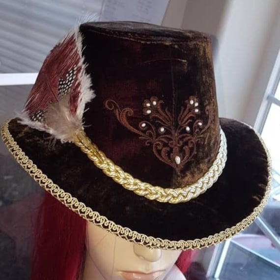 Unisex Slanted Riding Hat,  w/ small feather cluster, Renaissance, Elizabethan  (MADE TO ORDER)