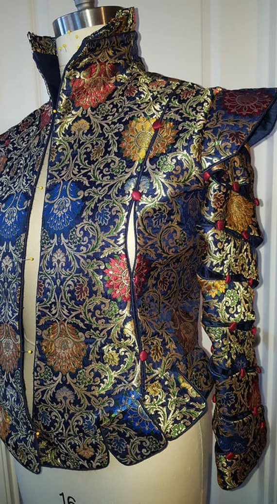 Men's Elizabethan DOUBLET with Spiral Paned Sleeves, Paned Slops, and Short Cape, Renaissance Costume, Made To Order