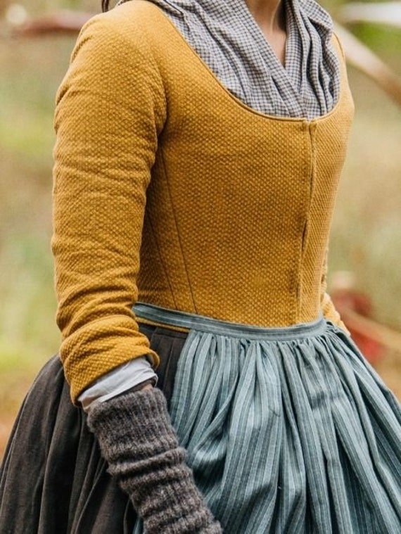 PLUS SIZED Claire Fraser Season 5 Bodice a.k.a Waistcoat, Women's 18th Century, Outlander - Linen fabric included
