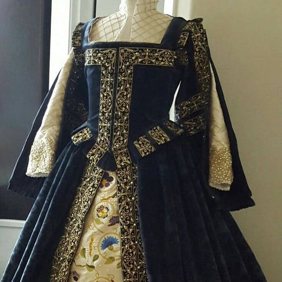 PLUS SIZED Spanish Gown, Custom Embroidery, Elizabethan, Costume, Bridal Gown,  (Made To Order)  Labor Fees