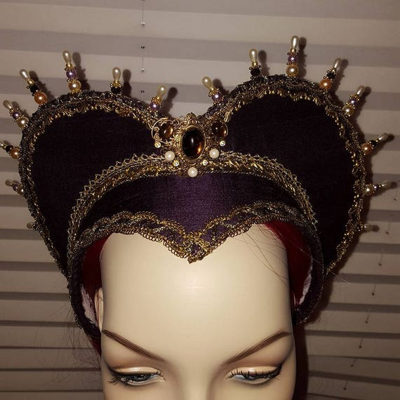 Women's Renaissance, Tudor, Elizabethan, French Hood, Pointed Base, Jeweled Billiments - MADE TO ORDER