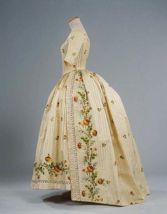 Women's PLUS Size 18th Century Dress, Embroidered Gown - Custom, Made To Order (LABOR FEES)