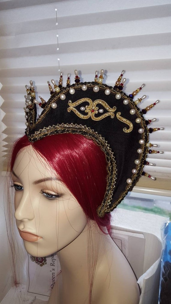 Women's Elizabethan Heart Shaped Attifet, Headdress, Renaissance - Custom Made to Order