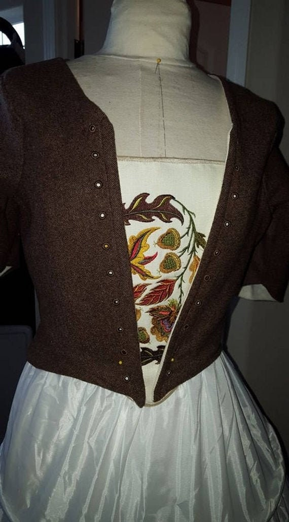 Women's 18th Century Claire Fraser, Lady Broch Tuarach Bodice and Embroidered Stomacher  - INCLUDES DONEGAL WOOL