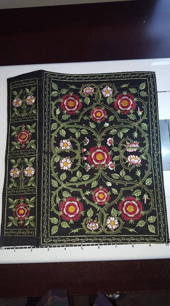 "Elizabeth I Book Cover - Authentic Reproduction, EMBROIDERED Tudor Bible Cover 8""x12""x2.5"""