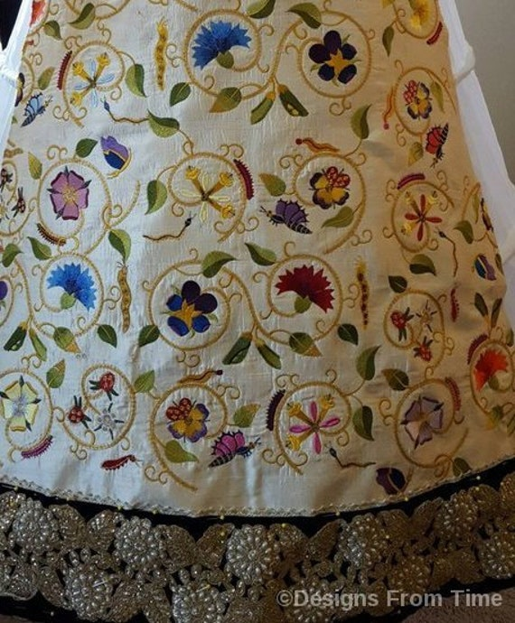 Women's Forepart / Forepanel, Custom Embroidered; Renaissance, Tudor, Elizabethan - MADE TO ORDER