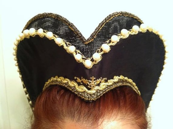 Women's Renaissance, Tudor, Elizabethan, Attifet, Headdress, Double Row - MADE TO ORDER