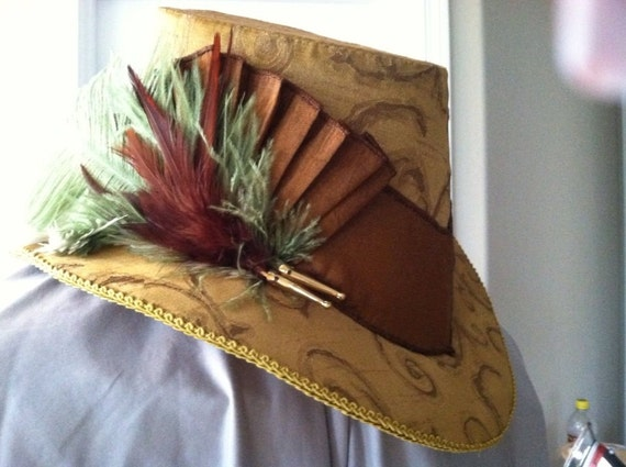 Unisex Slanted Riding Hat with Cockcade & Feather Cluster. Renaissance, Elizabethan - MADE TO ORDER