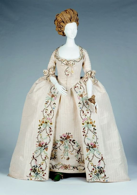 Women's PLUS Size 18th Century Dress, 1760s Robe a la Francaise Embroidered Gown - Custom, Made To Order (LABOR FEES)