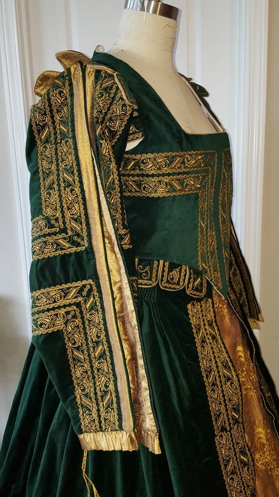 Spanish Gown, Custom Embroidery, Elizabethan, Costume, Bridal Gown,  (Made To Order)  LABOR FEES