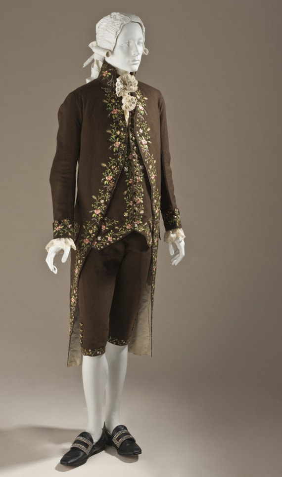 Men's 18th Century, 1780s French Court FROCK Coat and WAISTCOAT-  Made To Order