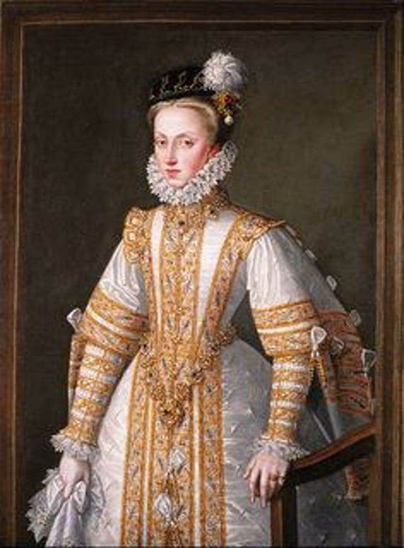 Anne of Austria, Spanish Gown, Custom Embroidery, Elizabethan, Costume, Bridal Gown,  (Made To Order)  LABOR FEES