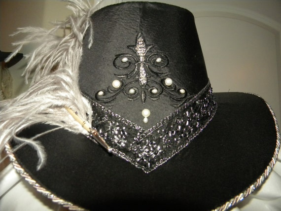 Unisex Handmade  Slanted Riding Hat, with Feathers Renaissance, Elizabethan,  (MADE TO ORDER)