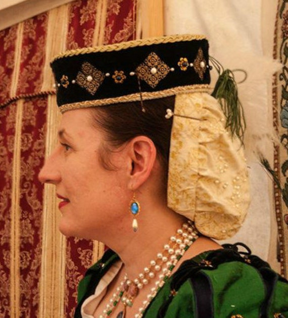 Women's Renaissance, Tudor, Elizabethan, Brimless, Pillbox, Toque, Hat - MADE TO ORDER
