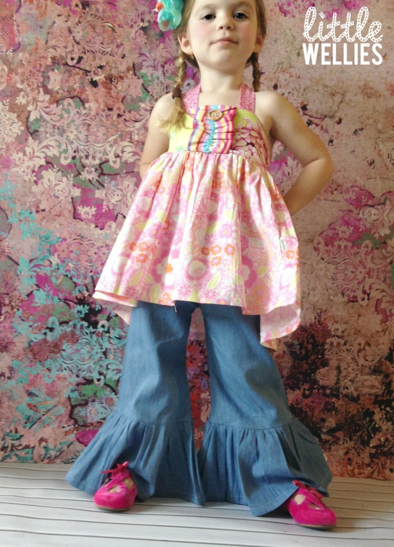 Denim Ruffle Pants or Capris  Jeans Boutique Style image 0