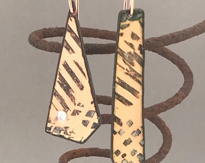 Mismatched Enamel Earrings