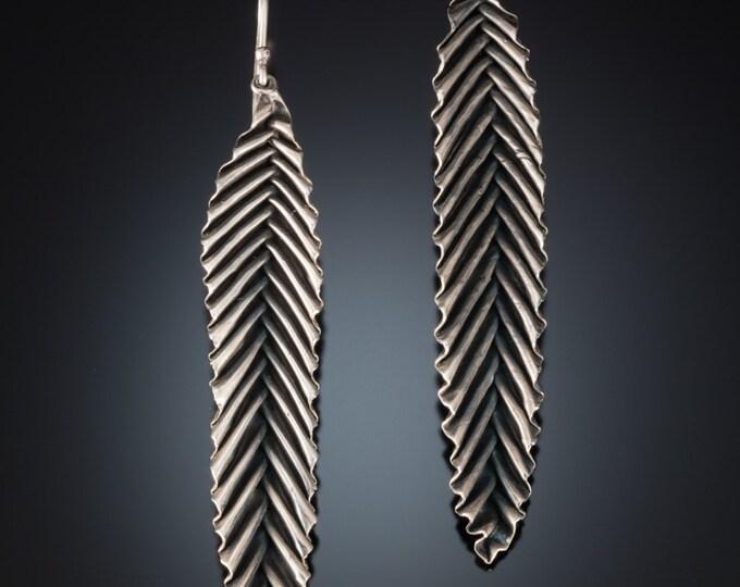 meta leaf earrings