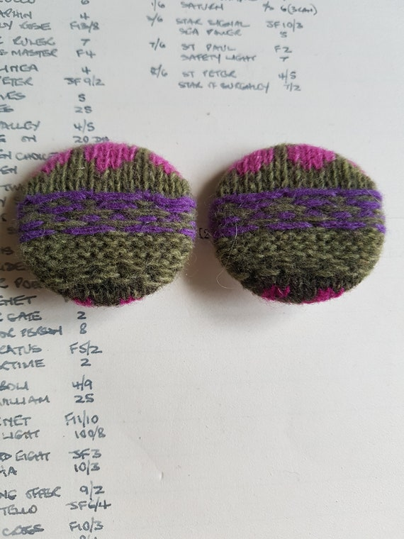 Wool Lapel Pins Pair Knitted Collar Pins Fair Isle Pattern | Etsy